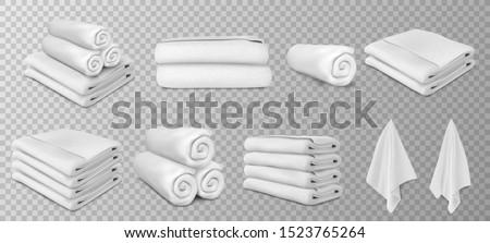 white towels set vector illustration Foto stock ©