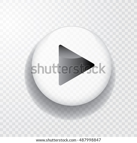 white transparent play button with shadow, vector icon