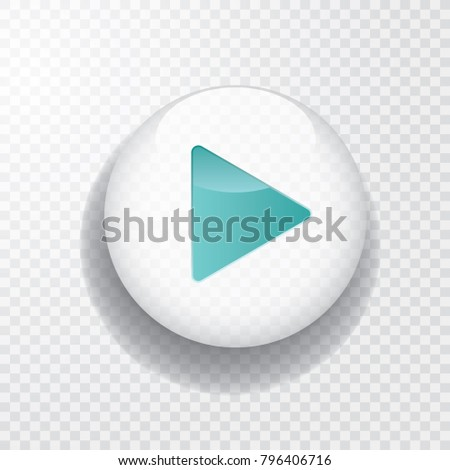 white transparent play button with turquoise arrow and shadow, vector icon