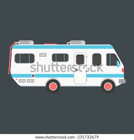 white travel camper van isolated on dark background. concept of outdoor recreation and travel around the world. flat style design trendy modern vector illustration