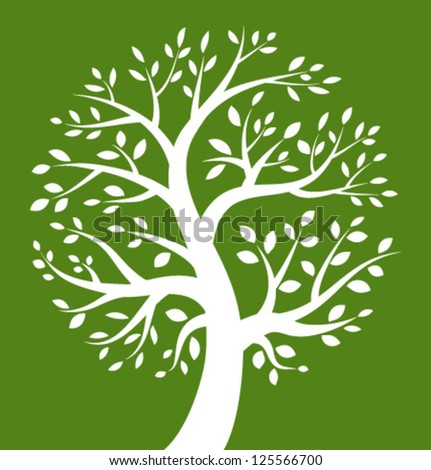 White Tree icon on green background, vector logo