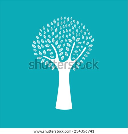 white tree in a blue background