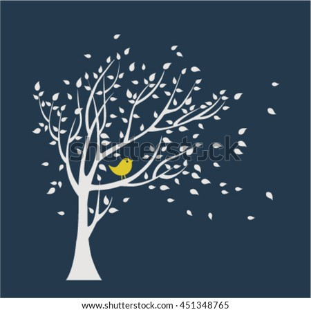 White tree with yellow bird. Falling leaves.