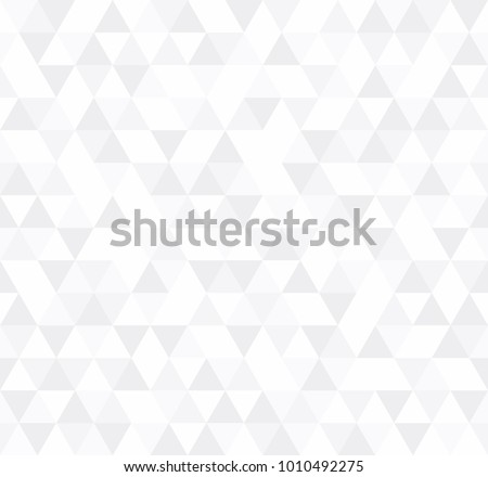 White Triangular Mosaic Abstract Seamless Pattern. Vector low poly style illustration. #1010492275