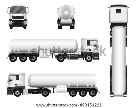 White truck with trailer. Vector tank car template. Separate groups and layers.