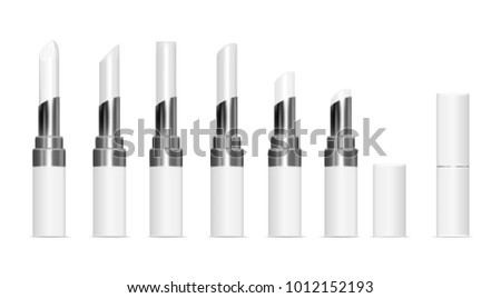 White tubes with white lipstick. Vector mock up set.