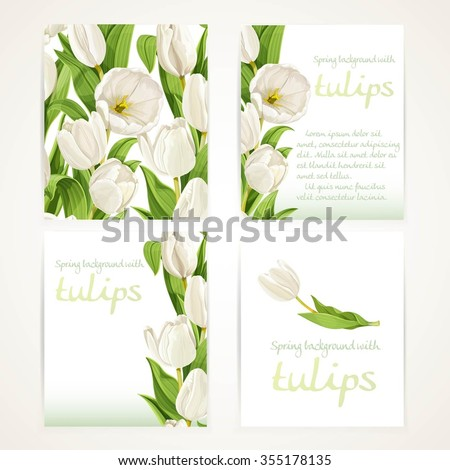 white tulips on four vertical