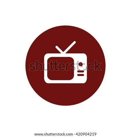 White TV vector icon. Screen vector illustration. Red circle. Red button