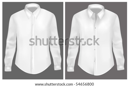 White two t-shirts. Photo-realistic vector illustration