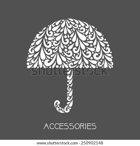 White umbrella. Vector floral decoration made from swirl shapes. Simple decorative gray and white illustration for print, web.