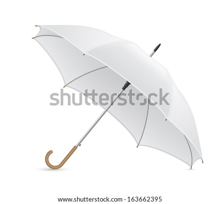 white umbrella vector illustration isolated on background - Shutterstock ID 163662395
