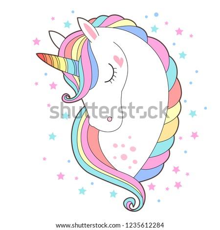white unicorn head vector