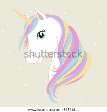 white unicorn vector head with