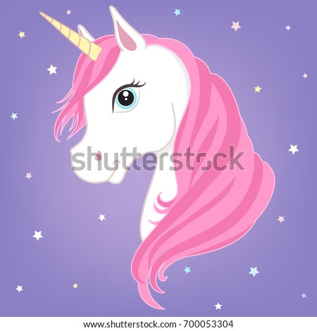 White unicorn vector head with pink mane and horn. Unicorn on starry background.