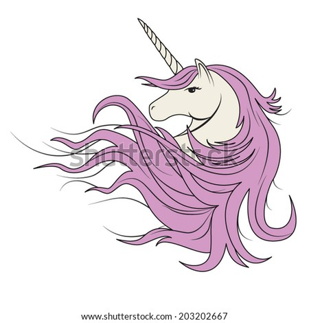 white unicorn vector  with