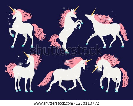 White unicorn with pink mane. Cartoon pretty unicorn horse isolated on background with rose mane for girls t-shirt design vector illustration