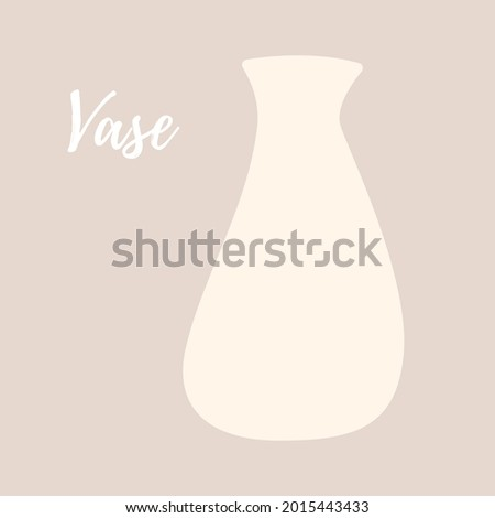 White unusual vase in flat modern style. Text vase. Template for a postcard, banner, invitation, poster. Vector illustration.