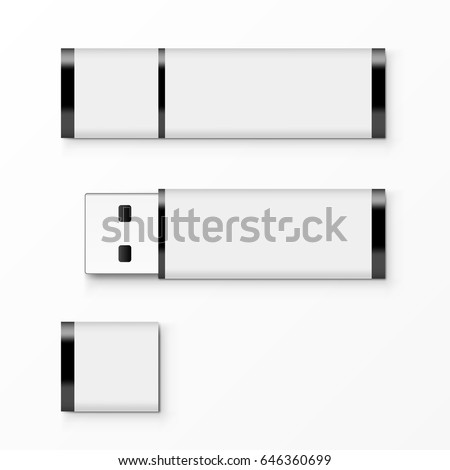 White USB Flash Drive Template For Advertising, Branding And Corporate Identity. EPS10 Vector