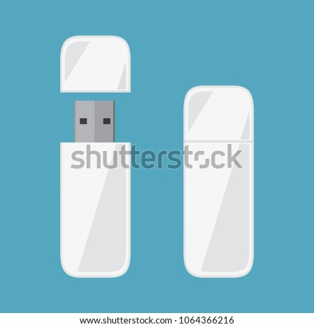 White Usb, Usb card, Flash driver, Flash memory icon in flat style design, isolated on blue background,vector eps10