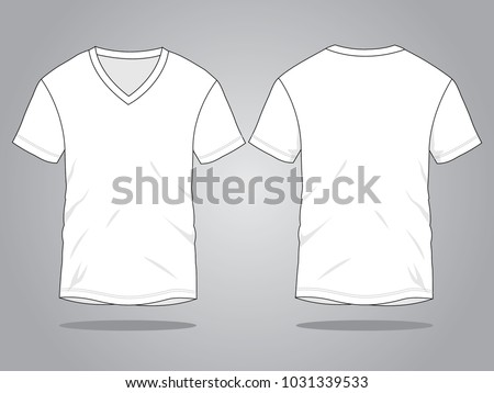 White V-Neck T Shirt Vector (Front and Back views)