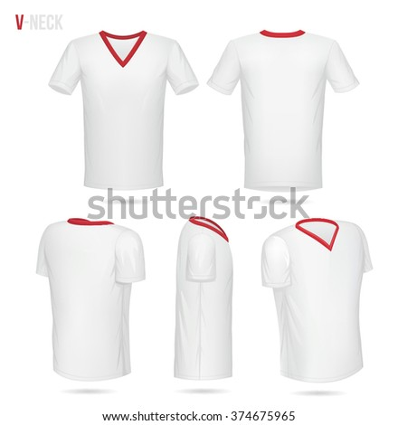 676d3afc405b Vector Images, Illustrations and Cliparts: White V-Neck t-shirt with ...