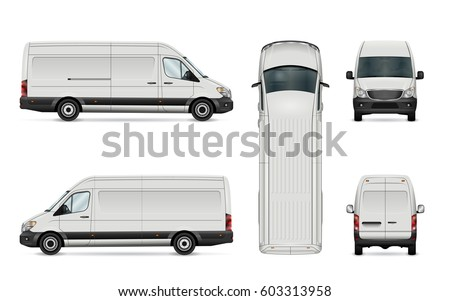 White van vector template for car branding and advertising. Isolated commercial vehicle set on white. All layers and groups well organized for easy editing. View from side, back, front, top.