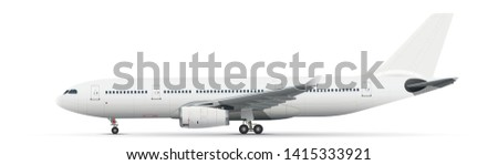 White vector airliner with landing gear on white background Stock photo ©