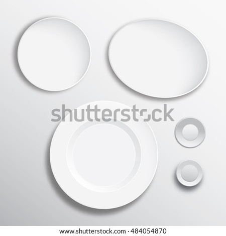 Shutterstock White vector blank plate mock up isolated. Empty dish, glass mock up design. Clear tableware ready for pattern, art or ornament presentation. Decorative rarity dishes template. Plate frame layout.