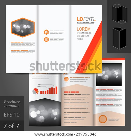 White vector brochure template design with red and yellow lines