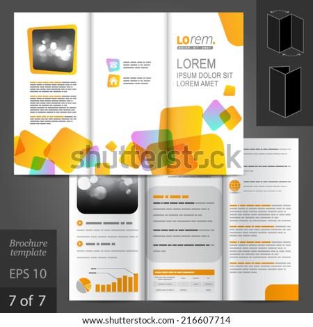 White vector brochure template design with yellow square figures