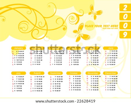 stock vector   white vector  calendar for 2009 with floral and butterfly