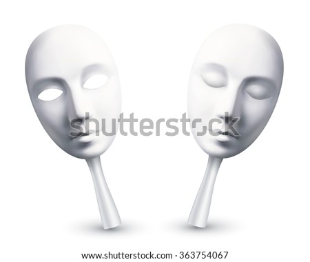 white vector carnival masks