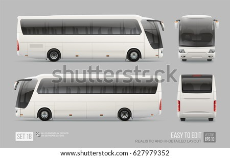 White Vector Coach City Bus - Mockup template isolated on grey background. City Bus blank surface for Corporate identity and advertising on transport. Corporate Bus side front and back view