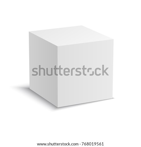 White vector cube with perspective. Realistic 3d vector illustration.