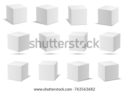 White vector cubes. Cube white collection. 3d models with perspective. Vector stock illustration isolated on white background.
