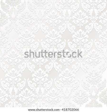 Shutterstock white vector Damask vintage pattern
