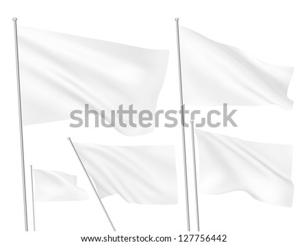 white vector flags a set of 5