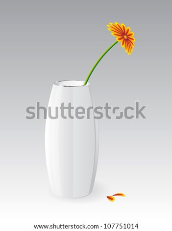 white vector glossy vase with