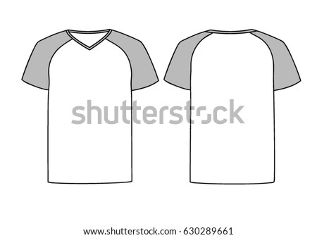 White Vector Males Or Females V Neck T Shirt Template With Grey Raglan Sleeves