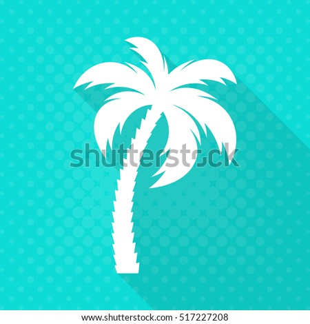 White vector palm tree flat icon turquoise background