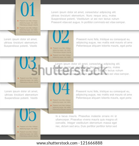 White vector paper numbered banners. Creative design template
