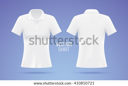 b73862205027 White vector polo shirt. Women's shirt template isolated on purple  background. Realistic mockup.