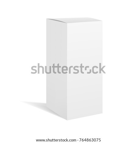 White vector realistic rectangle box package mockup with shadow for your design. Blank rectangular container or cardboard template for cosmetic, medicine, software, appliance products.