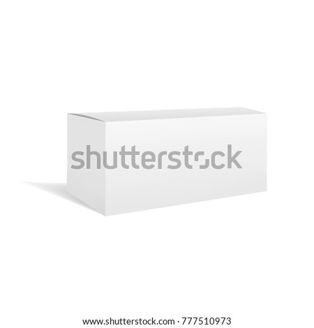 White vector realistic rectangular horizontal box package mockup with shadow. Blank rectangle container or cardboard template for cosmetic, medicine, software, appliance products