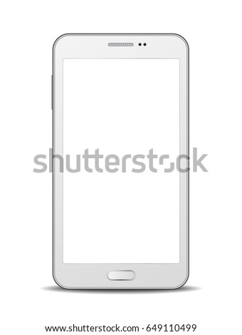 White vector smartphone with blank display isolated on white background