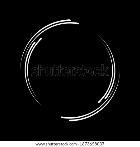 White vector speed lines in round form. Geometric art. Trendy design element for frame, logo, tattoo, sign, symbol, web pages, prints, posters, template, pattern and abstract background