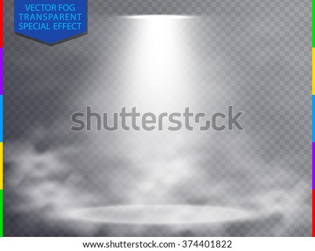 White vector spotlight scene in fog light effect concept isolated on transparent background. Concert show scene with smoke illuminated by glow ray. Mystery, magic, fantasy and romance abstract