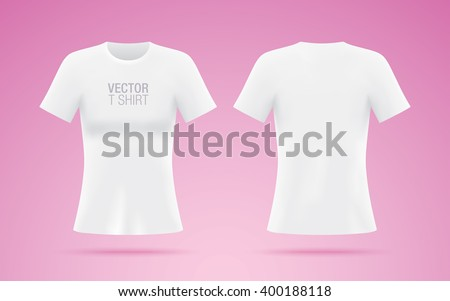 8e7f03a9 White vector T-shirt. Woman T-shirt template isolated on pink background.