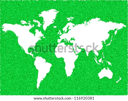 White Vector World Map on Retro Green Background