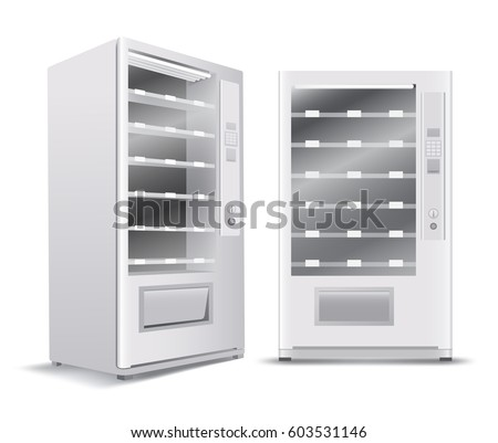 White Vending Machine on White Background : Vector Illustration